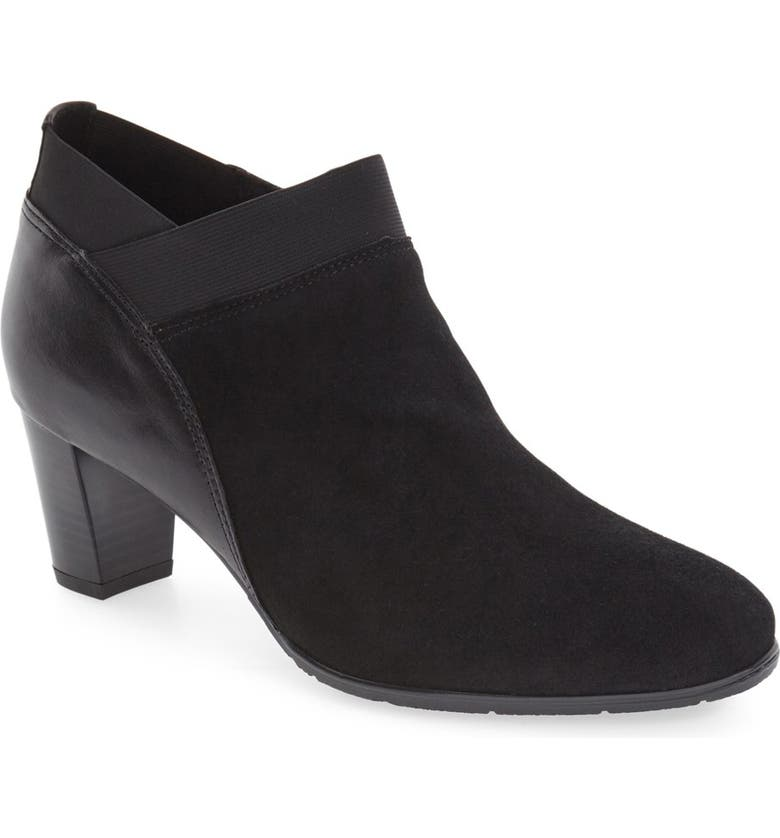 ARA 'Torrence' Almond Toe Zip Bootie, Main, color, BLACK SUEDE