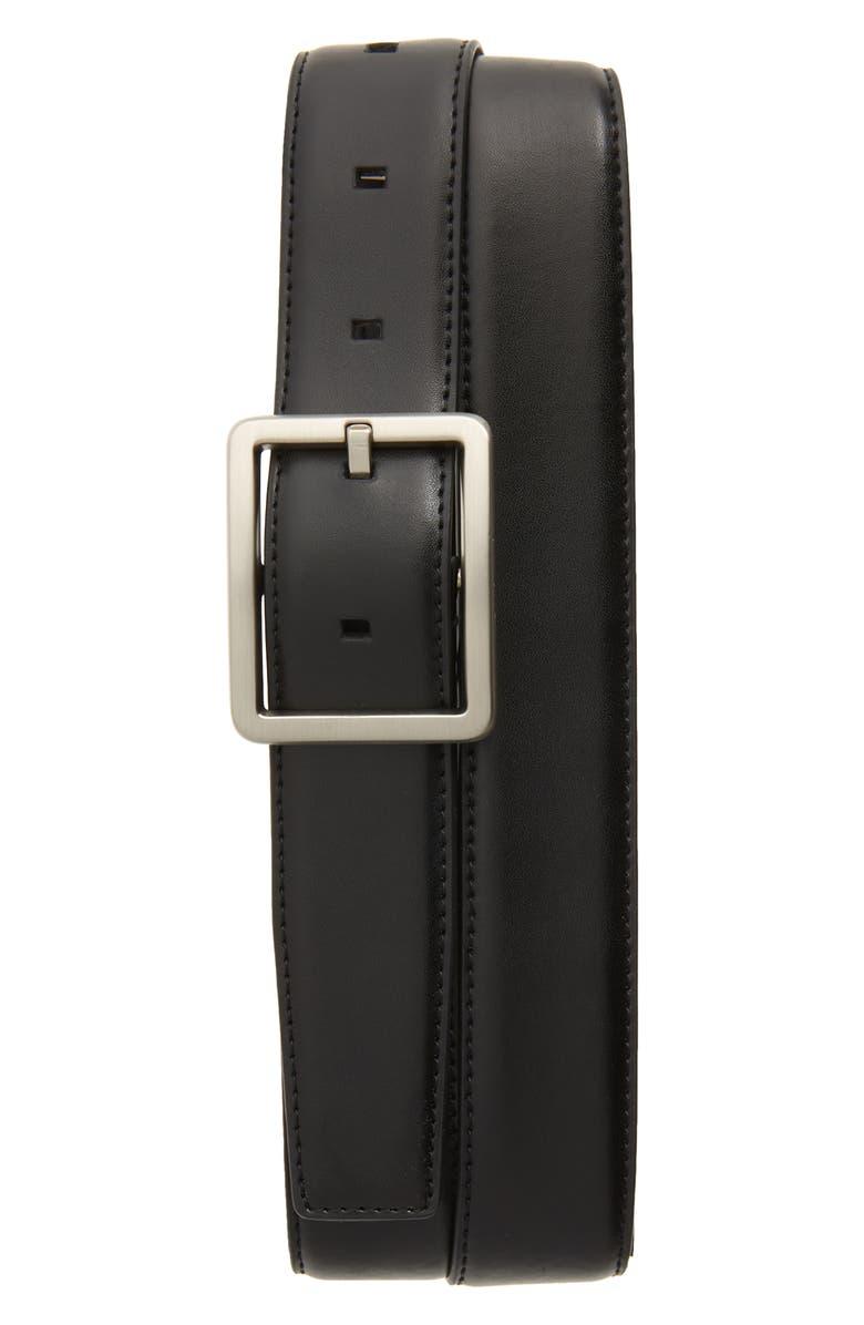 CALVIN KLEIN Faux Leather Belt, Main, color, BLACK