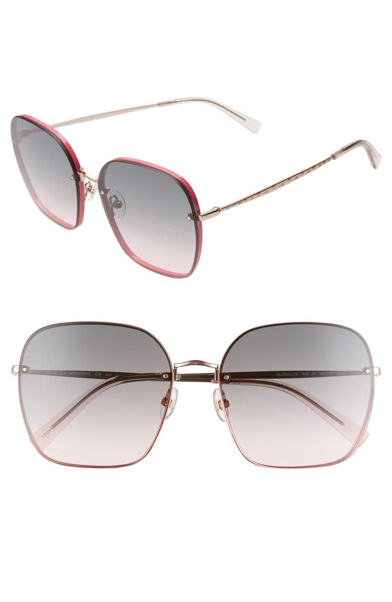 REBECCA MINKOFF Gloria3 60mm Square Sunglasses, Main, color, PINK/ GREY/ ROSE GOLD