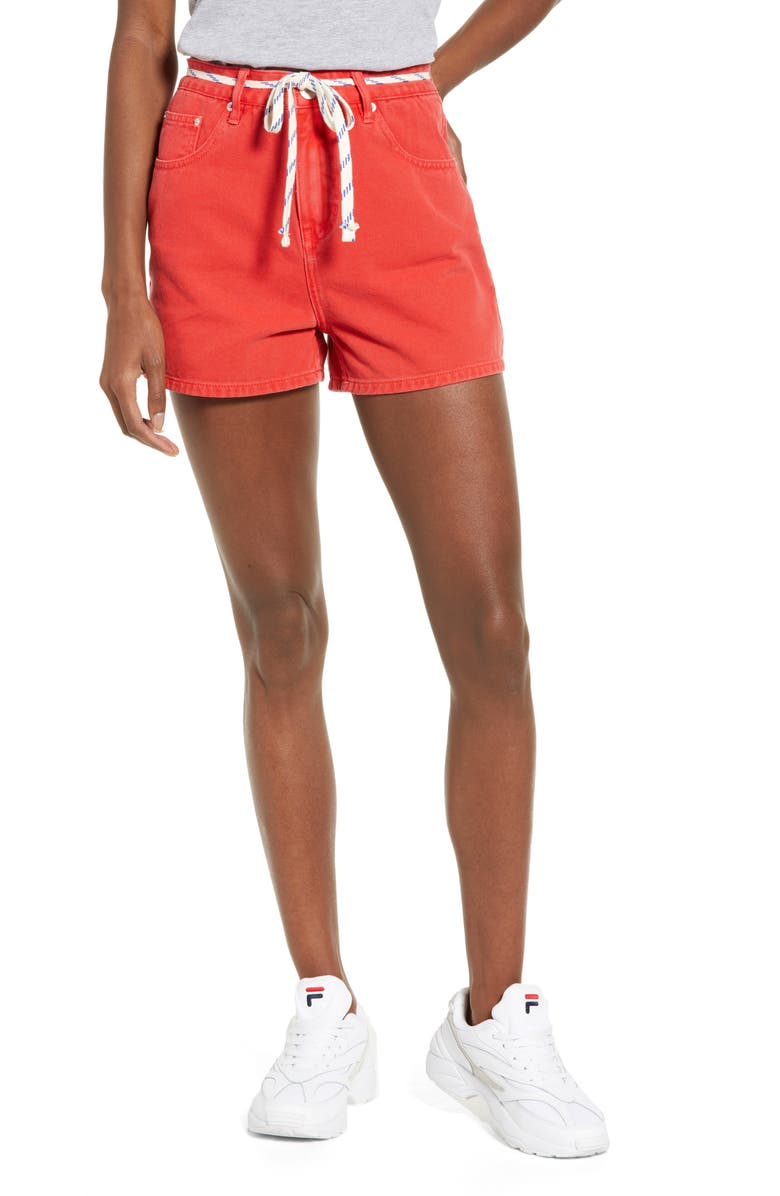 UNIONBAY Madonna Belted Denim Shorts, Main, color, BRIGHT CARMINE RED