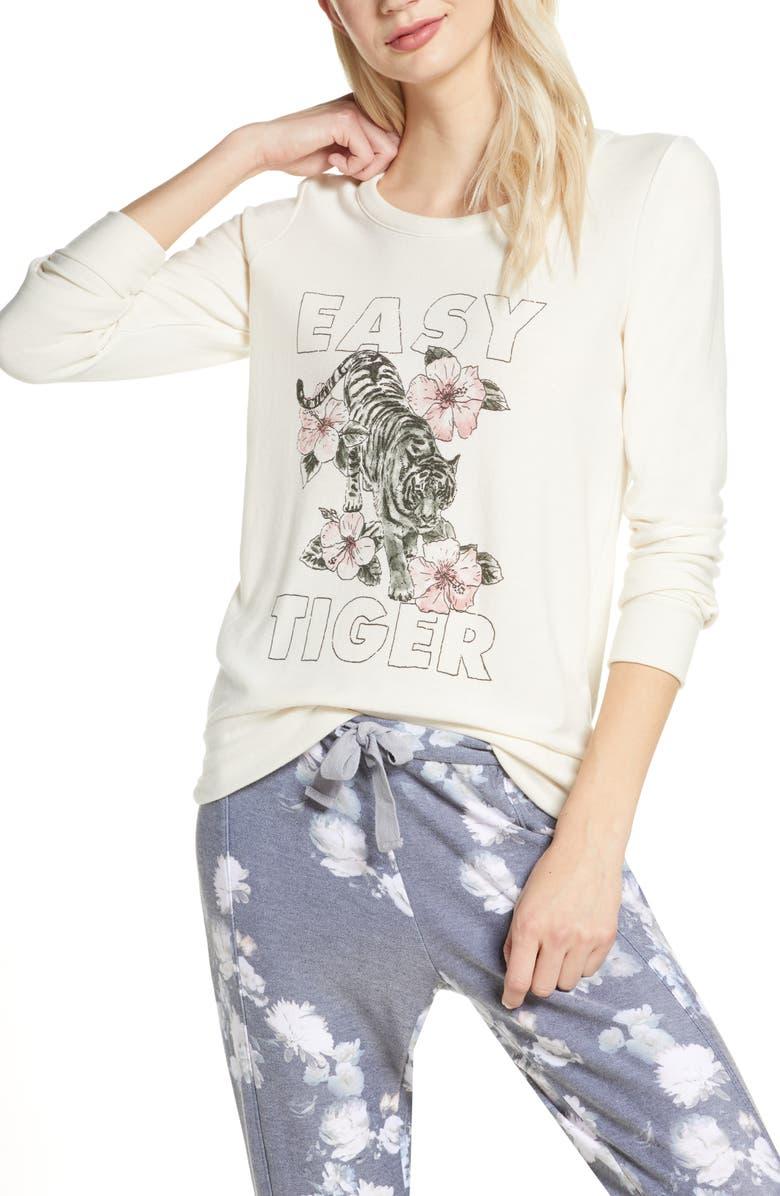 CHASER Easy Tiger Cozy Knit Sweatshirt, Main, color, AU LAIT