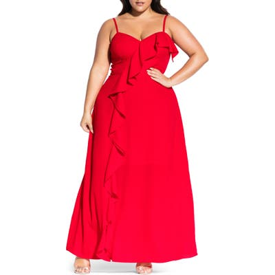Plus Size City Chic Catalina Maxi Dress, Red