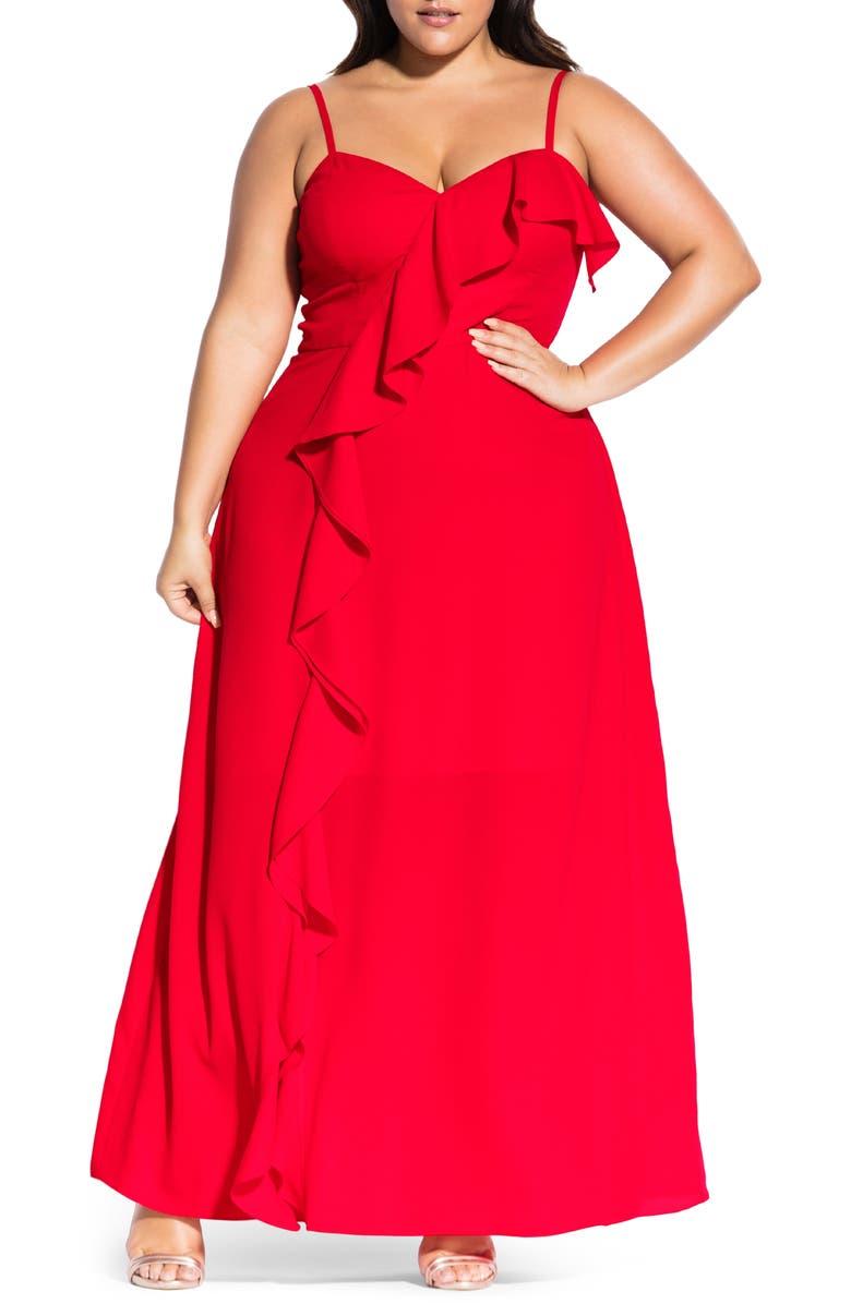 CITY CHIC Catalina Maxi Dress, Main, color, RED