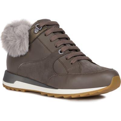Geox Aneko Amphibiox Waterproof Faux Fur Trim Sneaker - Grey