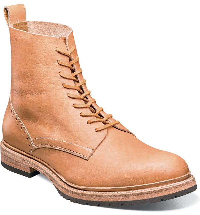 STACY ADAMS M2 Plain Toe Boot, Main, color, NATURAL LEATHER
