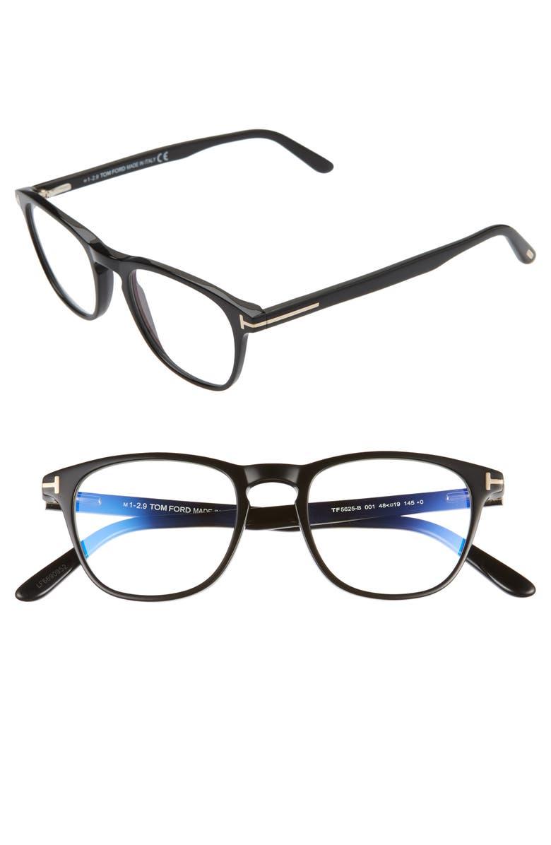TOM FORD 48mm Blue Light Blocking Square Glasses, Main, color, SHINY BLACK