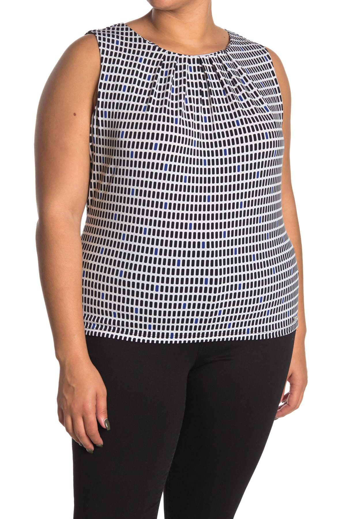 Image of Calvin Klein Pleated Printed Cami (Plus Size)