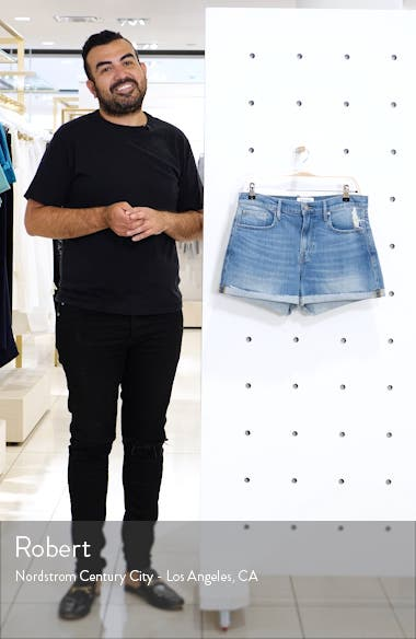 Le Brigette Raw Cuffed Denim Shorts, sales video thumbnail