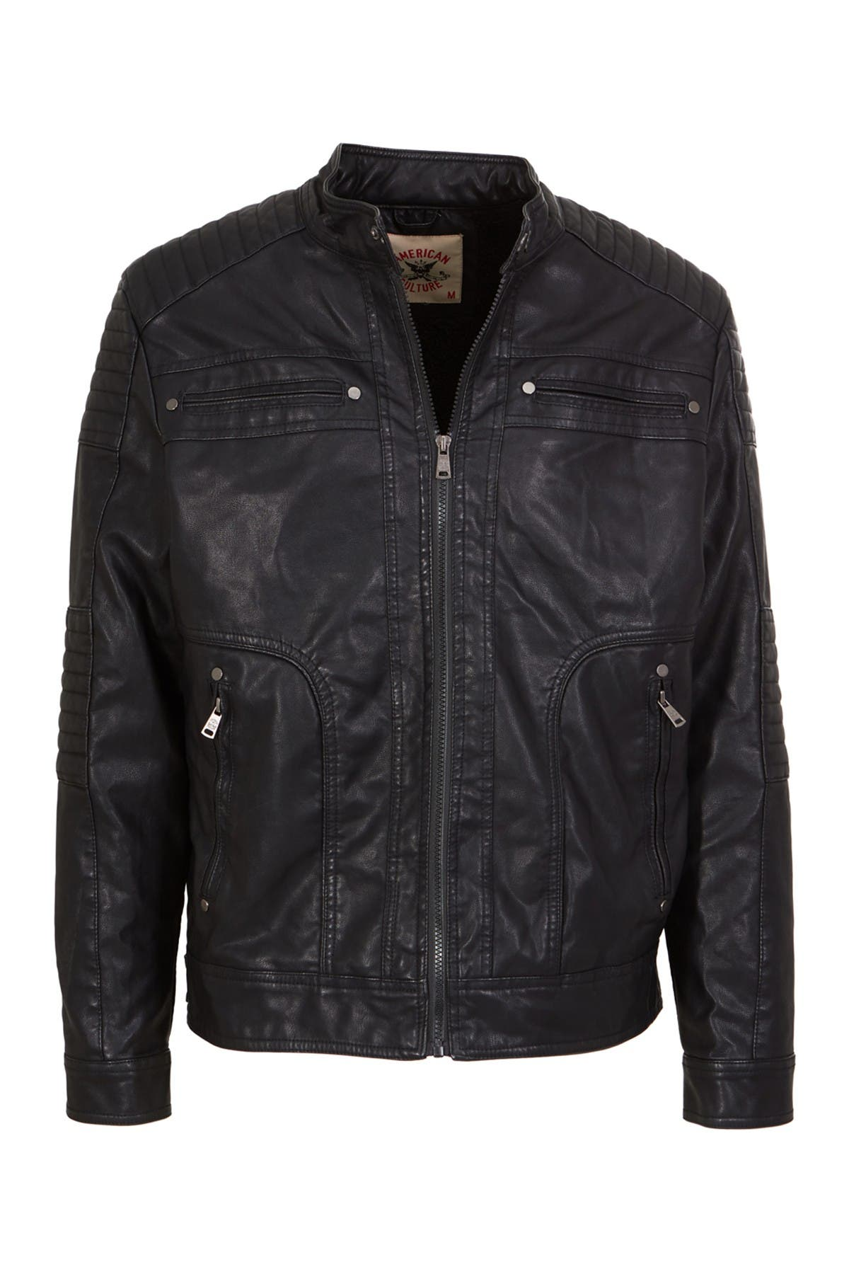 Image of AMERICAN CULTURE Zip Front Faux Leather Jacket