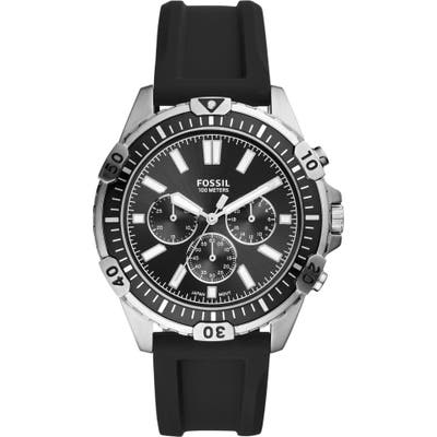 Fossil Garrett Chronograph Silicone Strap Watch, 4m