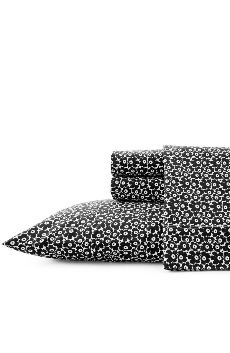 MARIMEKKO Pikkuinen Unikko 200 Thread Count Cotton Sheet Set, Main, color, Black