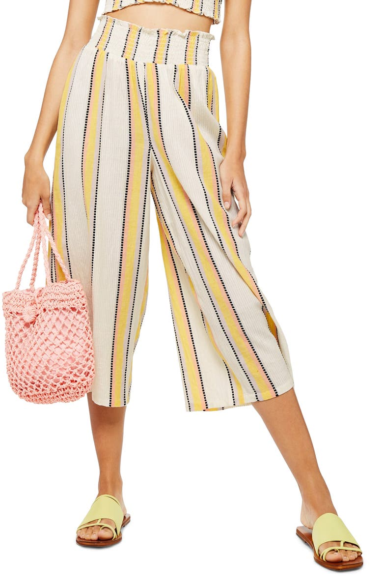 TOPSHOP Stripe Smocked Waist Crop Trousers, Main, color, IVORY MULTI