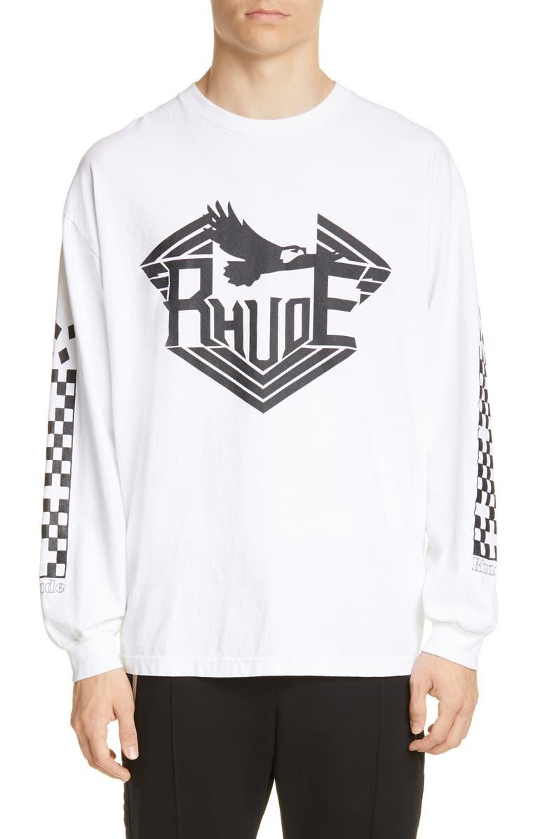 RHUDE Rhanger Long Sleeve T-Shirt, Main, color, 100