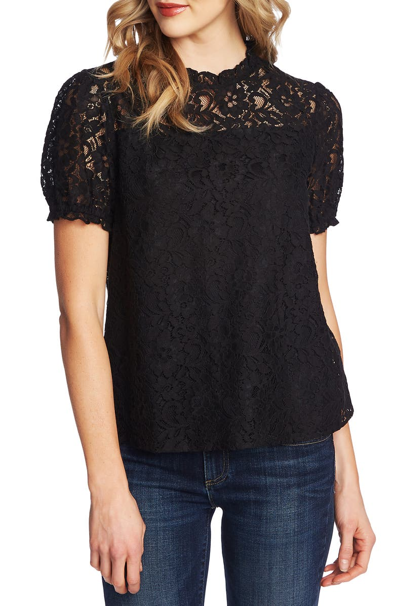 Puffed Sleeve Floral Lace Blouse by Cece
