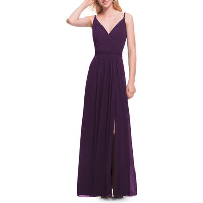 #levkoff Surplice Neck Chiffon Gown, Purple