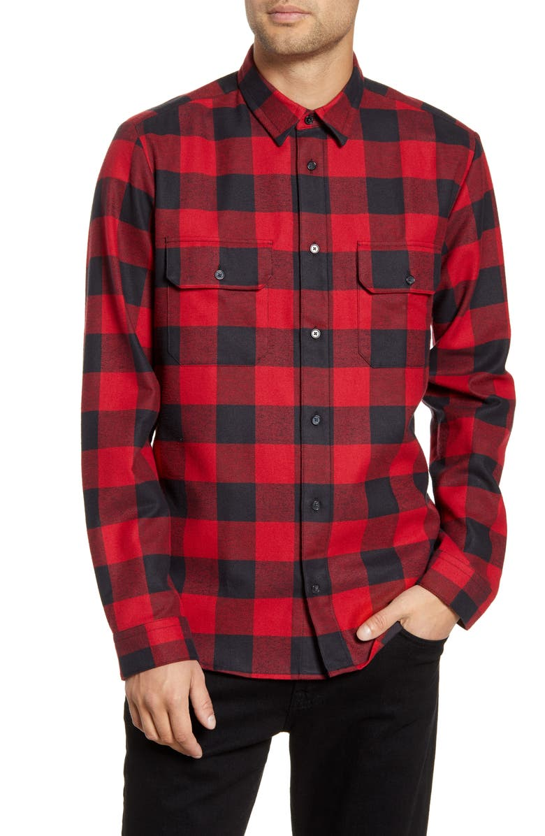 HUGO Enver Relaxed Fit Flannel Button-Up Shirt, Main, color, OPEN PINK