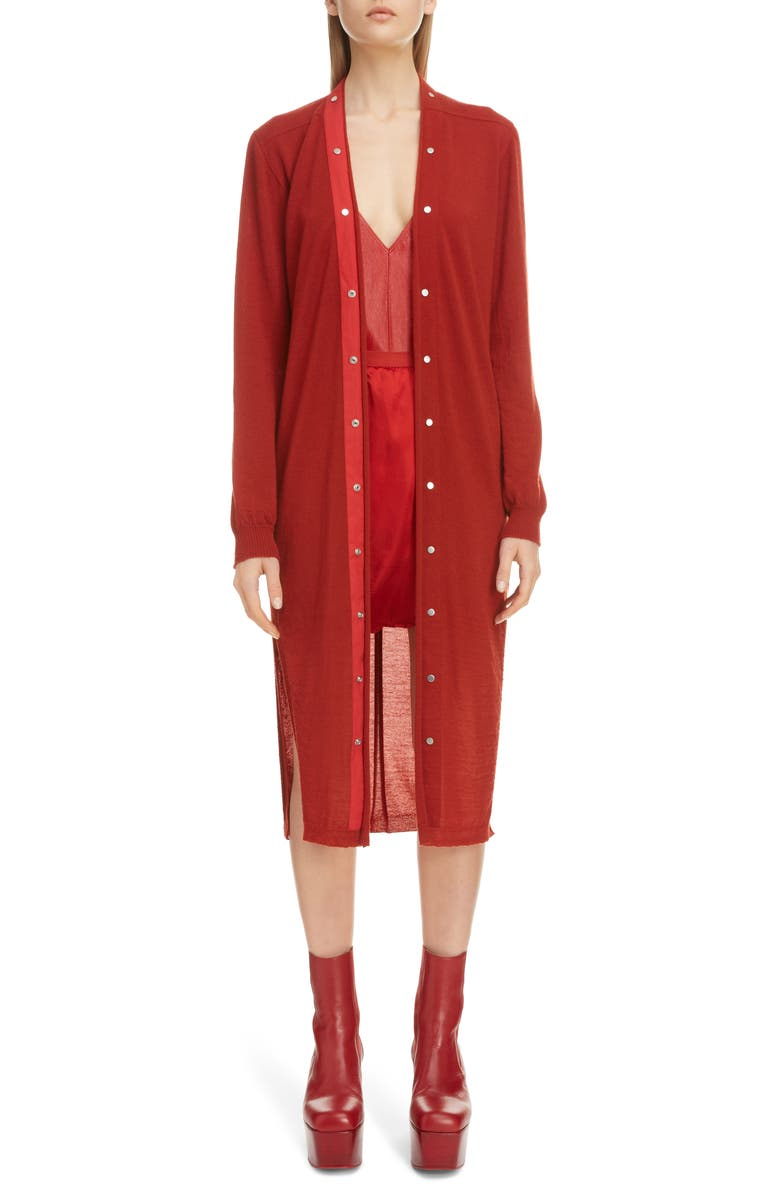 RICK OWENS Snap Cashmere Cardigan, Main, color, CHERRY