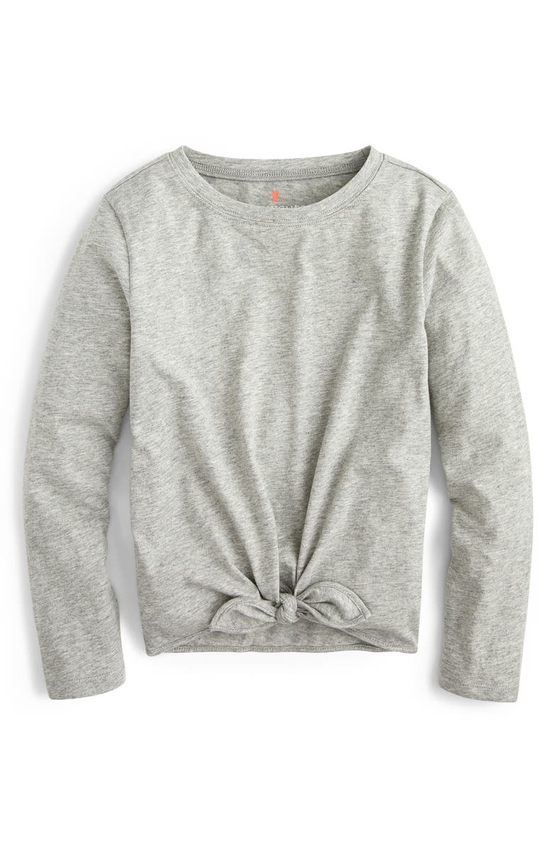 CREWCUTS BY J.CREW Tie Front Long Sleeve Tee, Main, color, HTHR GREY