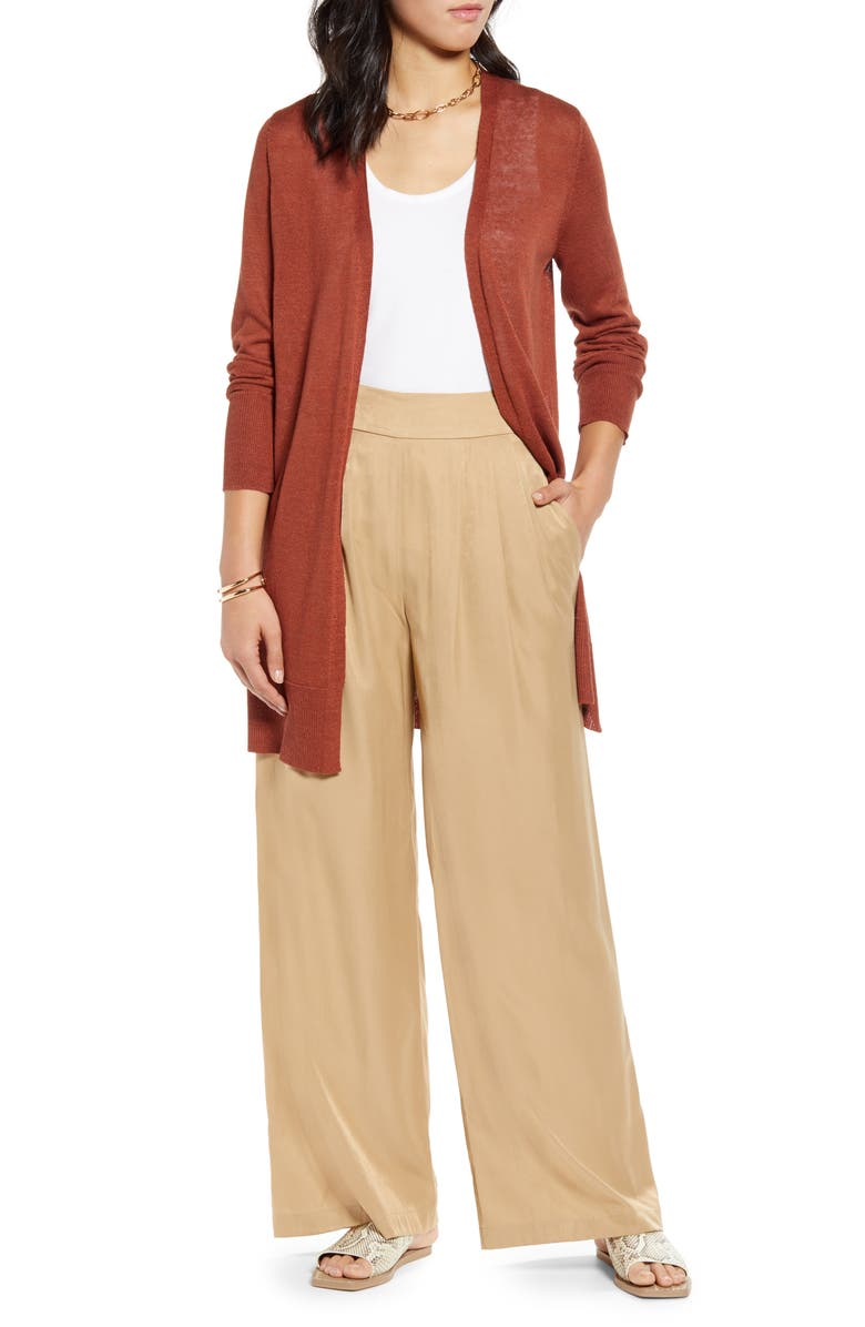 HALOGEN<SUP>®</SUP> Long Cardigan, Main, color, RUST SEQUOIA