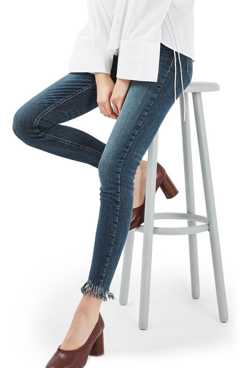 TOPSHOP Jamie Frayed Hem Skinny Jeans, Main, color, 400