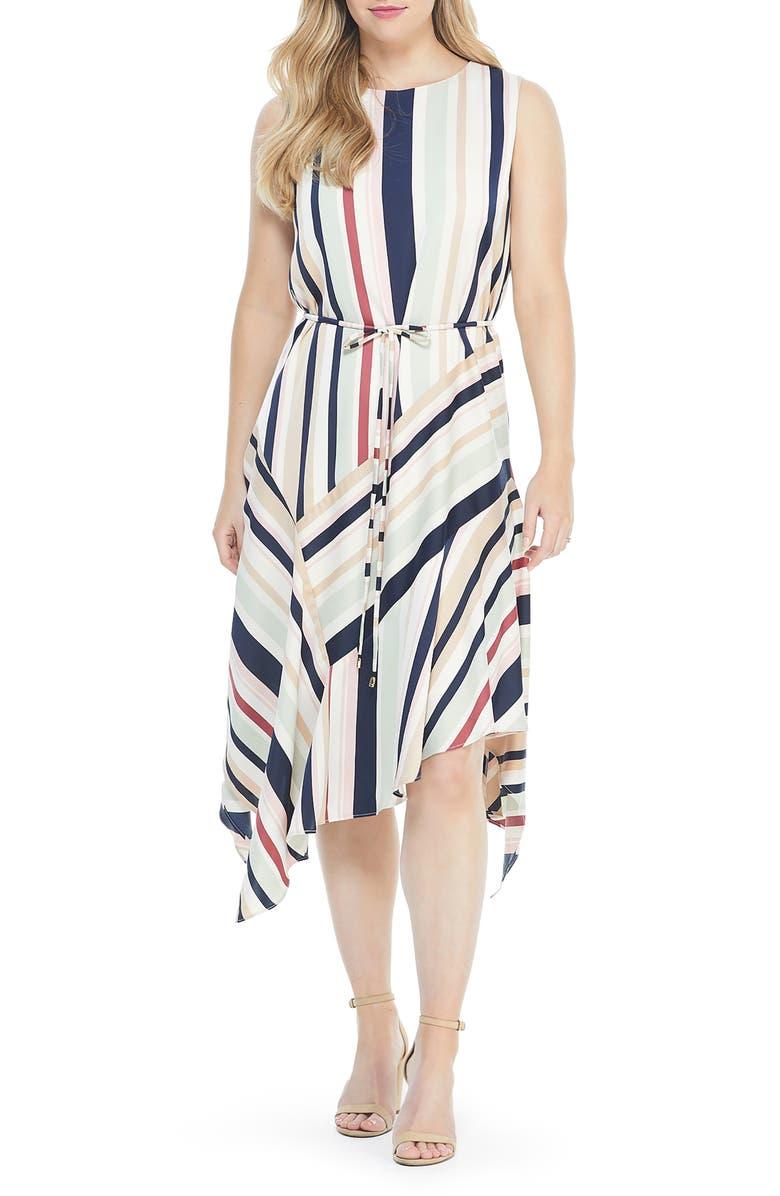 MAGGY LONDON Stripe Handkerchief Hem Satin Dress, Main, color, BLUSH