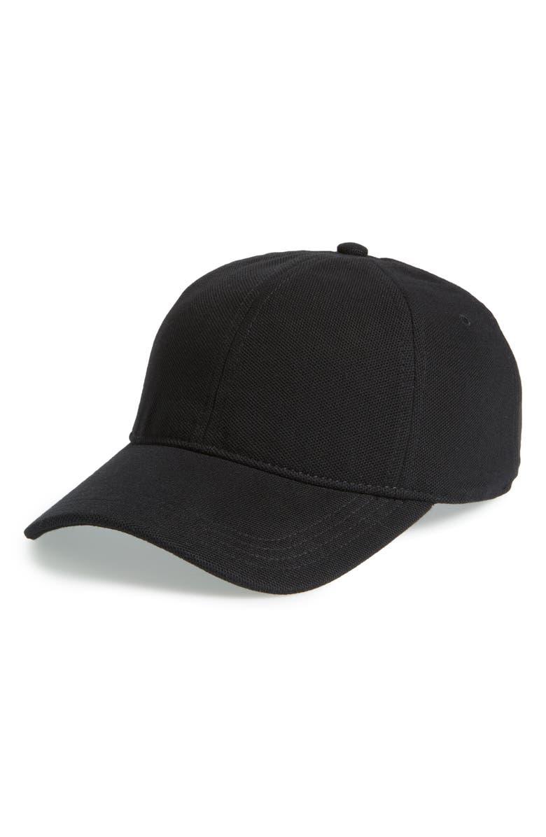 LACOSTE Croc Cotton Baseball Cap, Main, color, BLACK