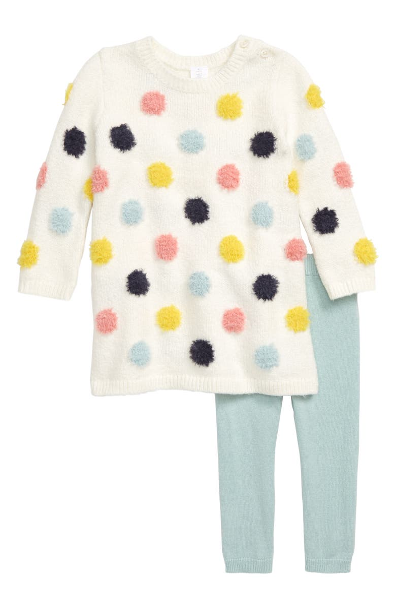 NORDSTROM Baby Dotted Sweater Dress & Leggings Set, Main, color, IVORY EGRET MULTI DOT