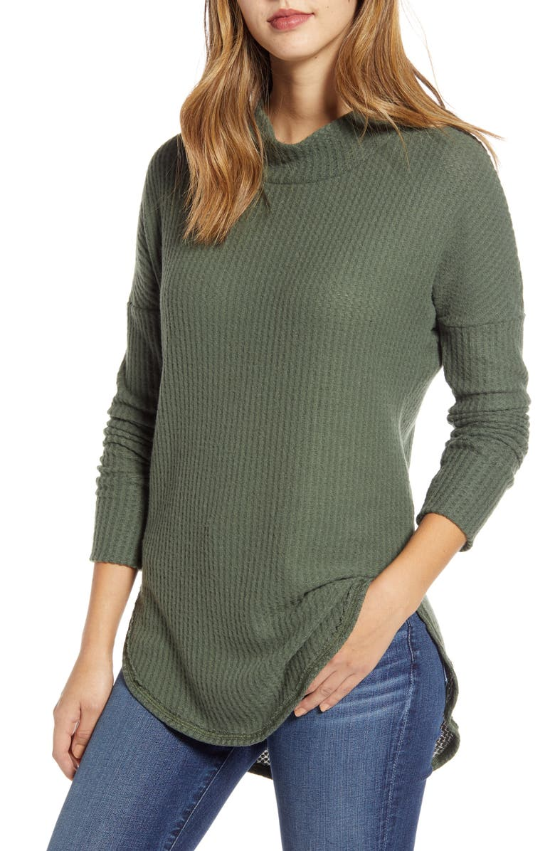 CASLON<SUP>®</SUP> Thermal Knit Tunic, Main, color, ARMY GREEN