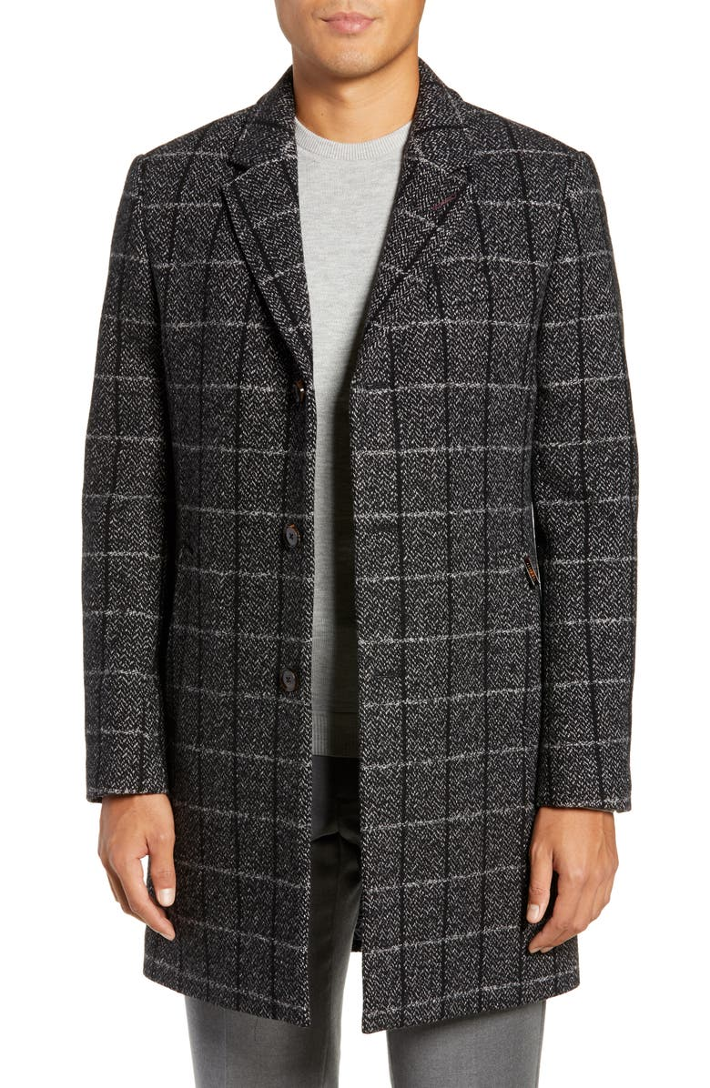 TED BAKER LONDON Ando Slim Fit Checked Overcoat, Main, color, 020
