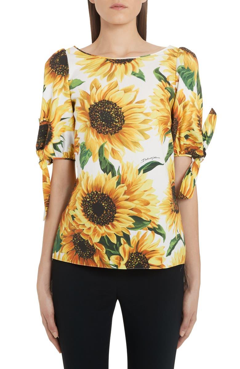 DOLCE&GABBANA Sunflower Print Poplin Top, Main, color, SUNFLOWER