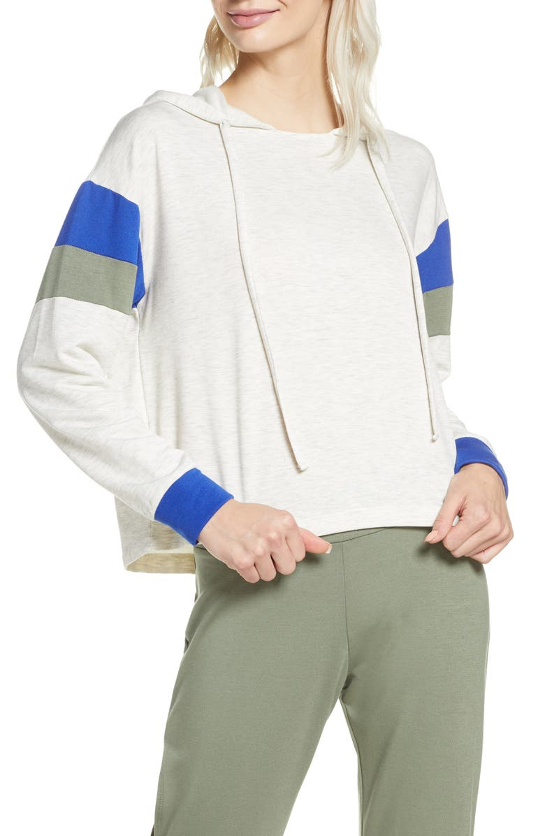 PROJECT SOCIAL T Cooper Colorblock Lounge Hoodie, Main, color, ASH/ NAVY/ GREY OLIVE