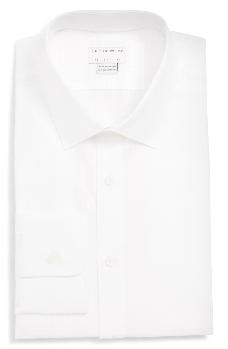 TIGER OF SWEDEN Fridolf Slim Fit Check Dress Shirt, Main, color, 100