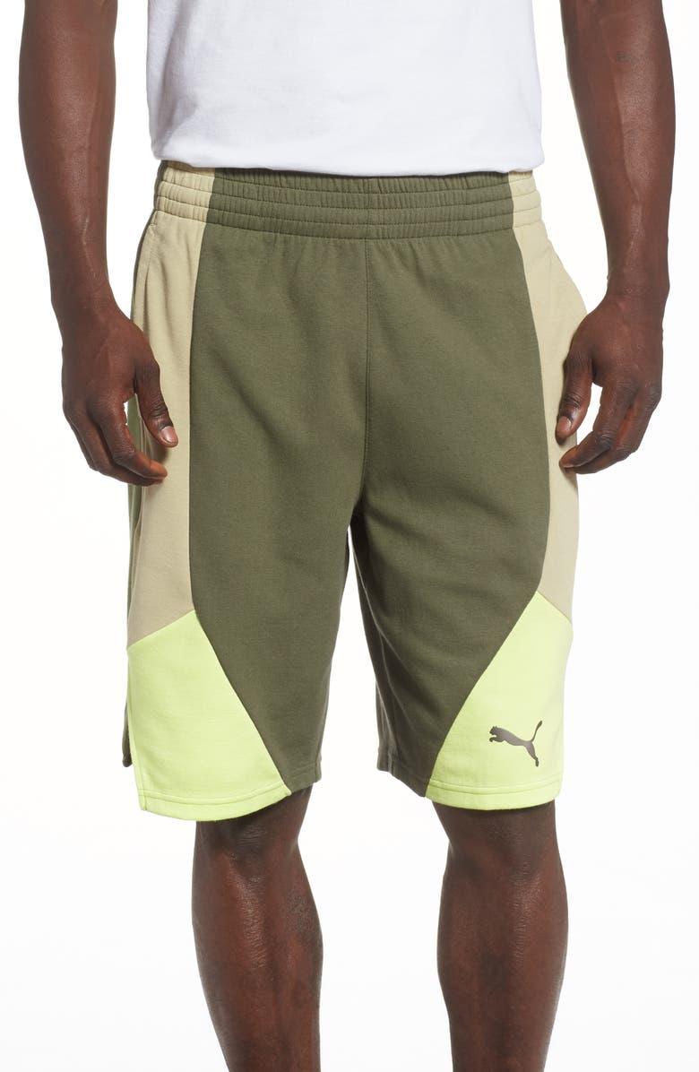 PUMA Retro Colorblock Sweat Shorts, Main, color, OLIVINE/ ELM