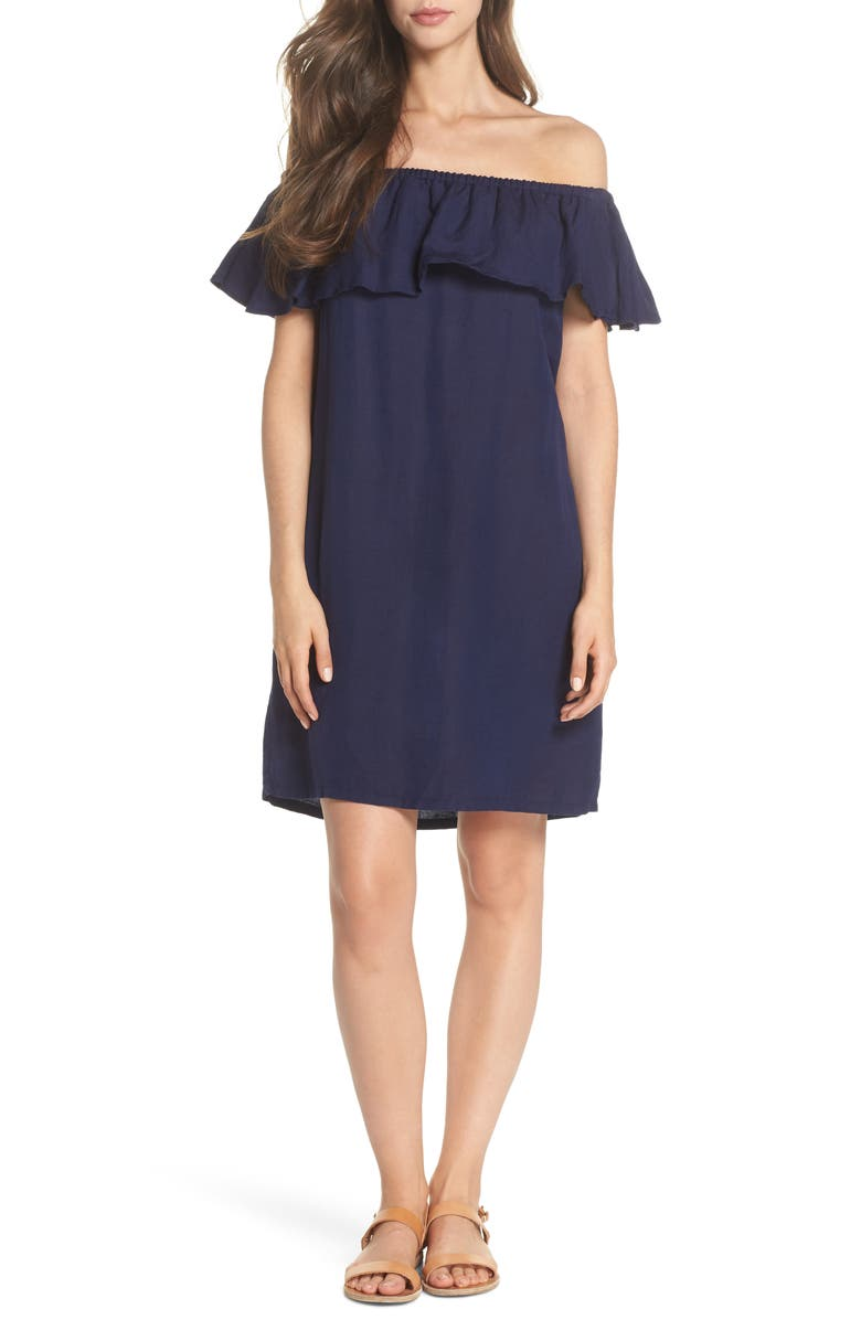 TOMMY BAHAMA Off the Shoulder Cover-Up Dress, Main, color, MARE BLUE