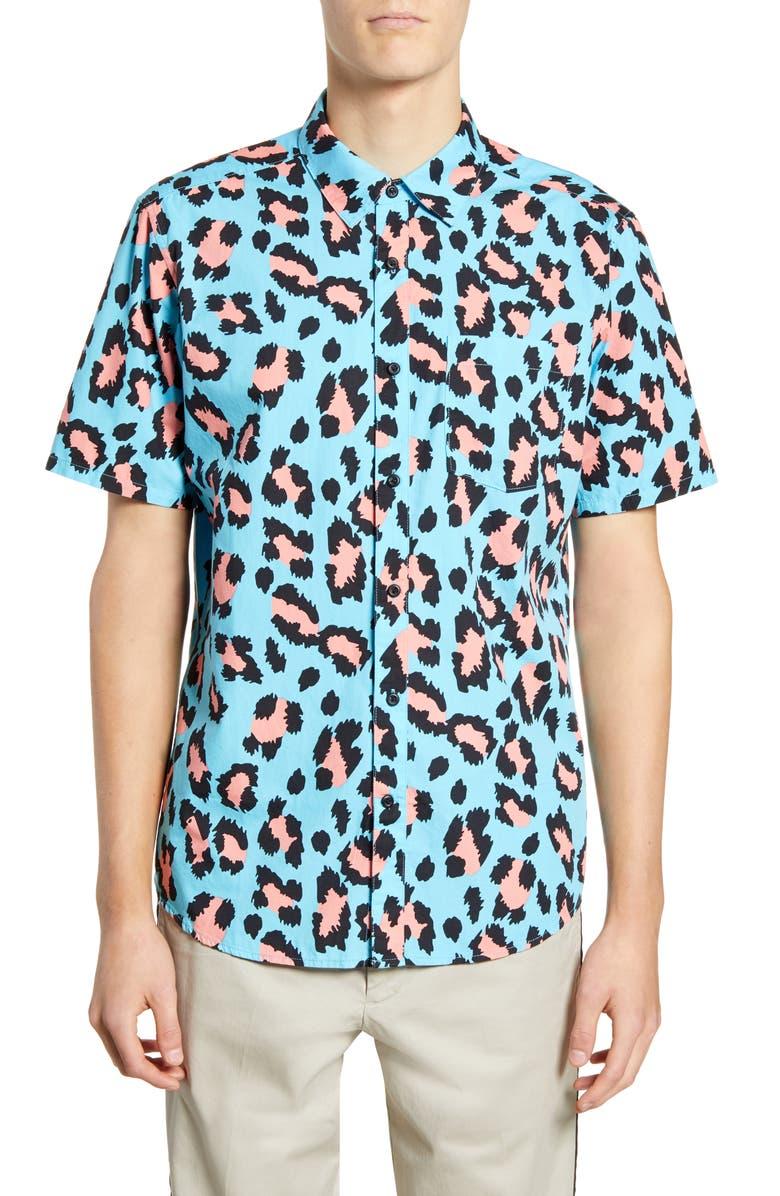 HURLEY Leo Leopard Print Short Sleeve Button-Up Shirt, Main, color, 422