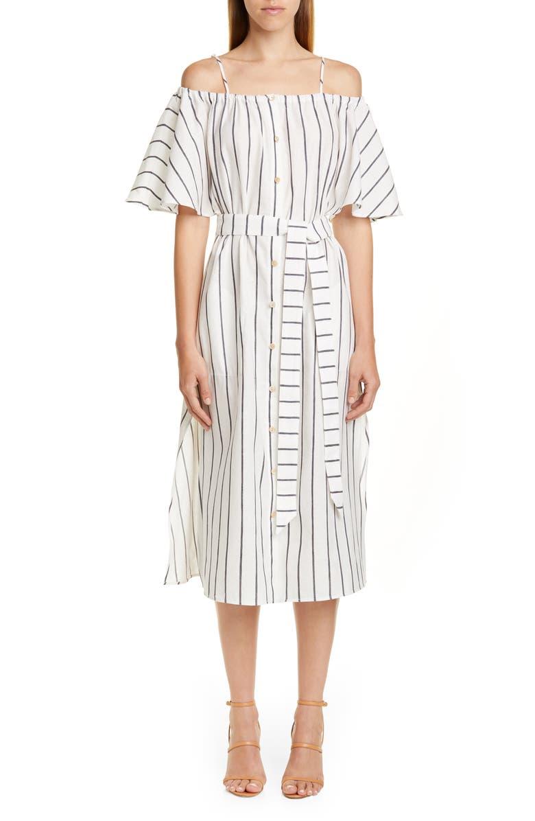 PALMER/HARDING Tulum Cold Shoulder Linen Midi Dress, Main, color, WHITE/ NAVY LINEN STRIPE