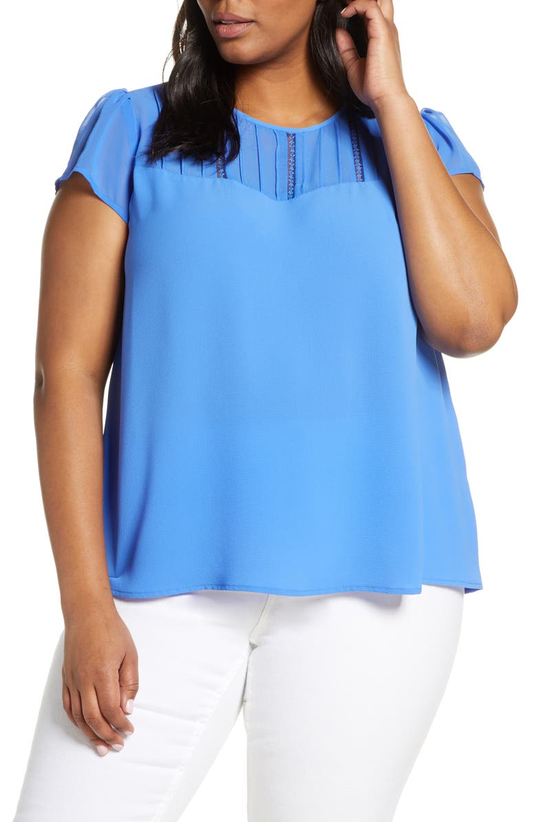 CECE Flutter Sleeve Top, Main, color, TROPIC NIGHT