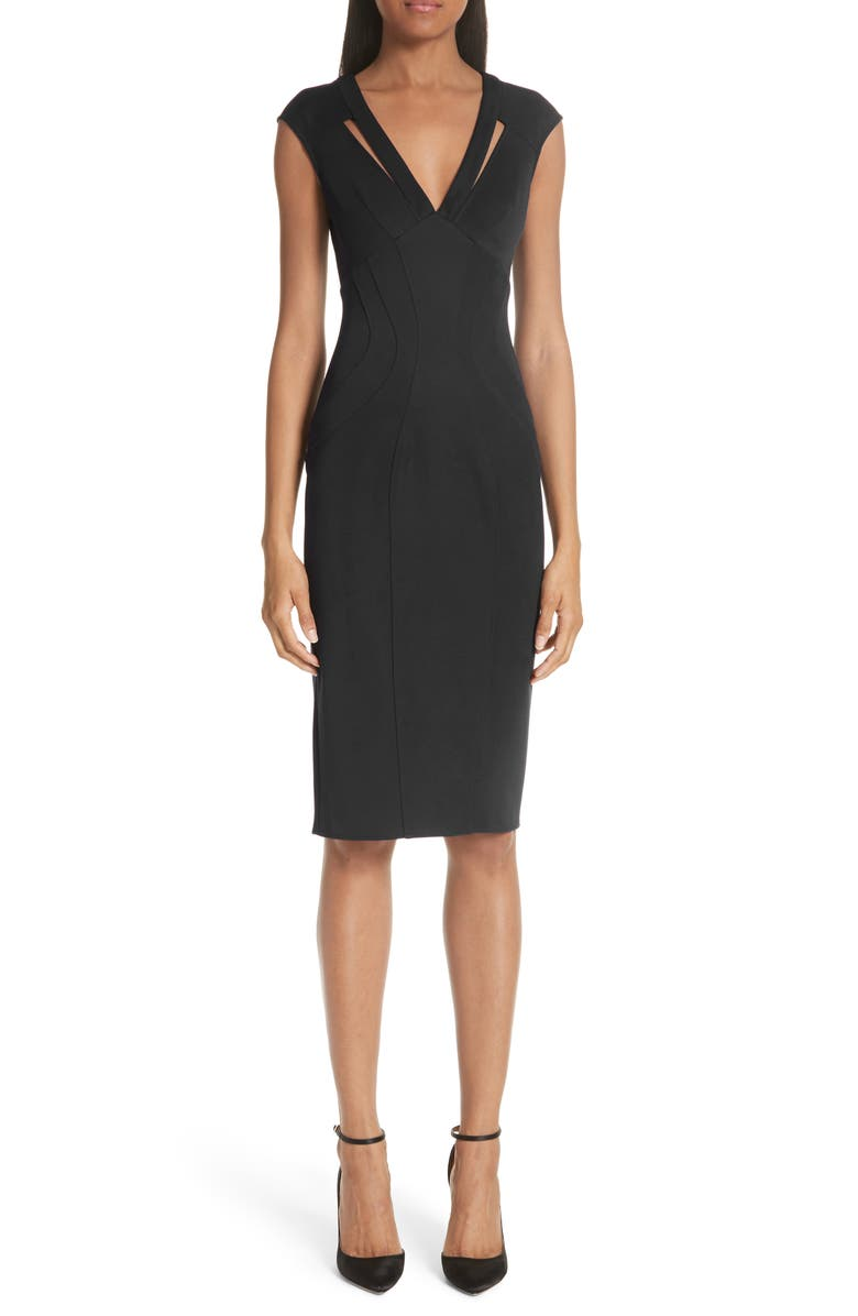 ZAC ZAC POSEN Joni Body-Con Sheath Dress, Main, color, BLACK