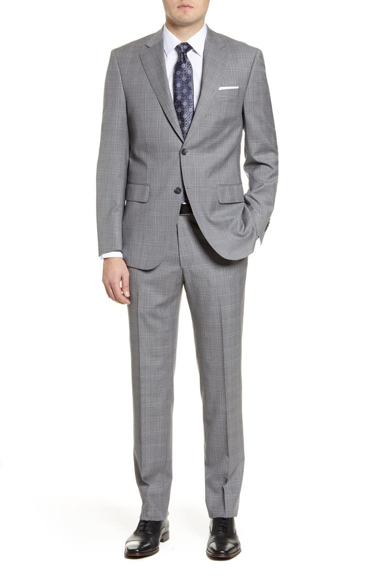 PETER MILLAR Classic Fit Plaid Wool Suit, Main, color, GREY