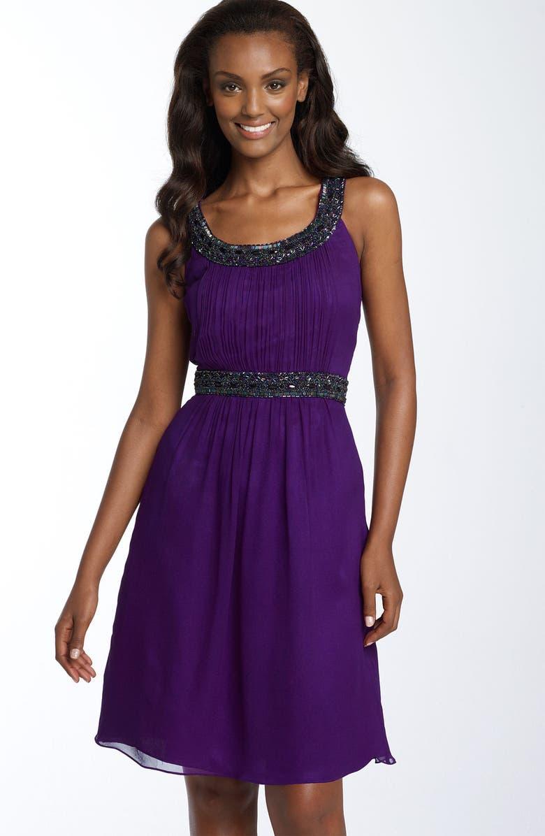 SEAN COLLECTION Beaded Silk Chiffon Dress, Main, color, 540