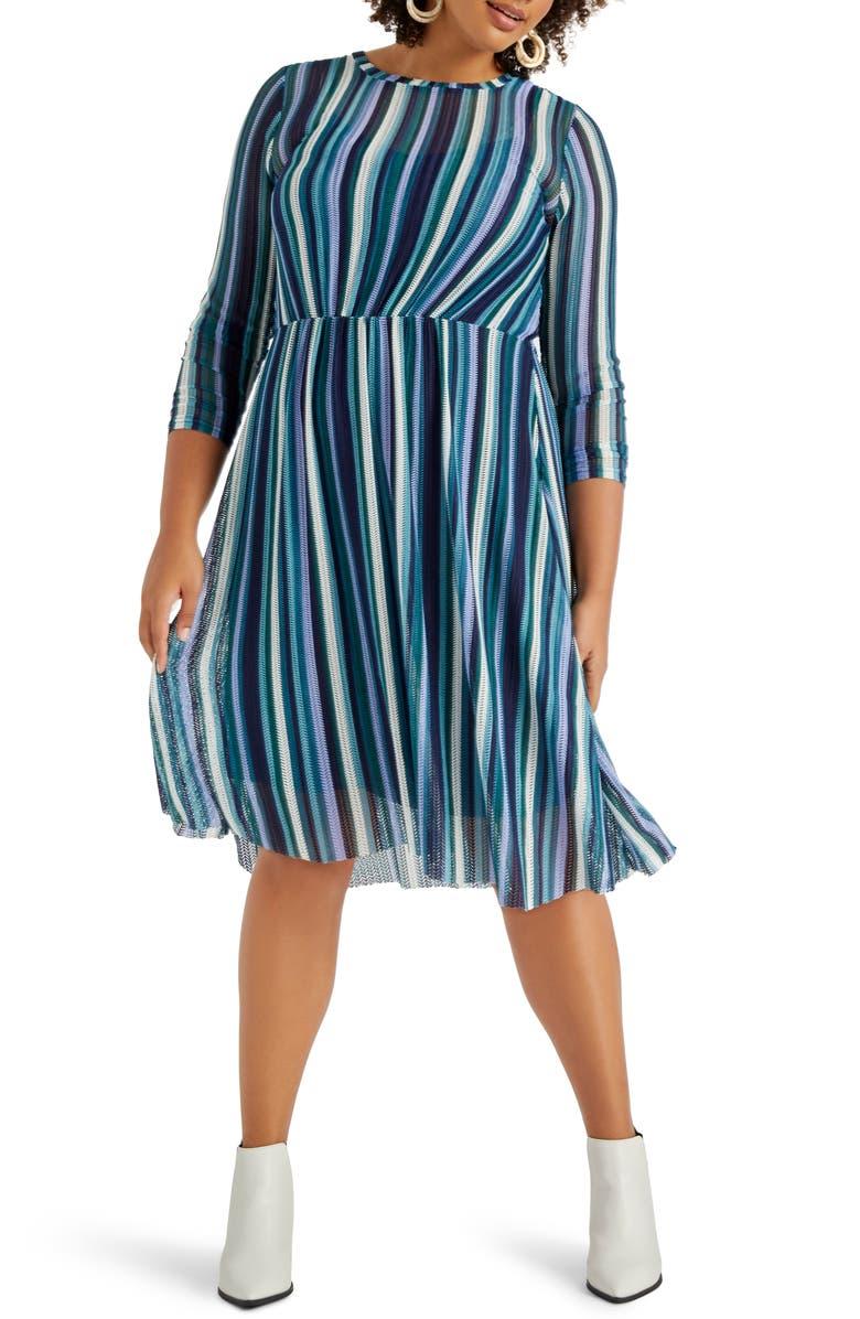 ELOQUII Stripe Mesh Dress, Main, color, STRIPE