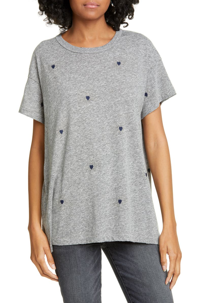 THE GREAT. The Boxy Crew Heart Embroidered Tee, Main, color, HEATHER GREY