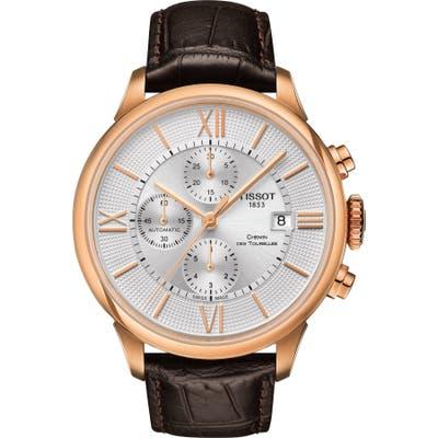 Tissot Chemin Des Tourelles Automatic Chronograph Leather Strap Watch,