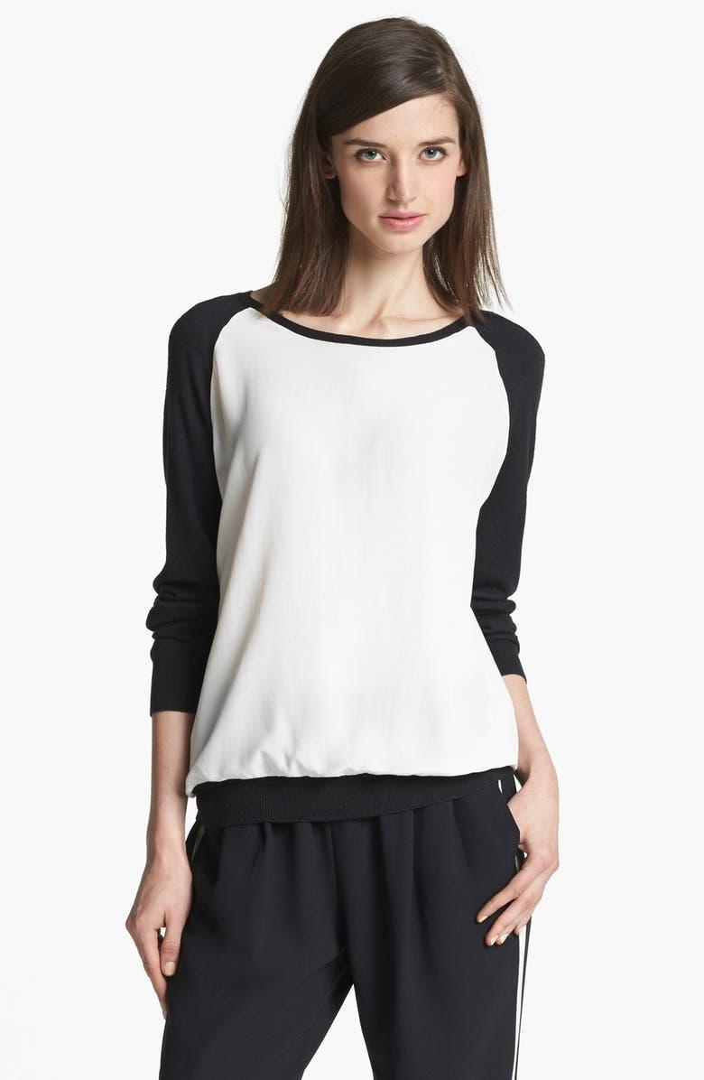 JOIE 'Malena B.' Mixed Media Sweater, Main, color, 123