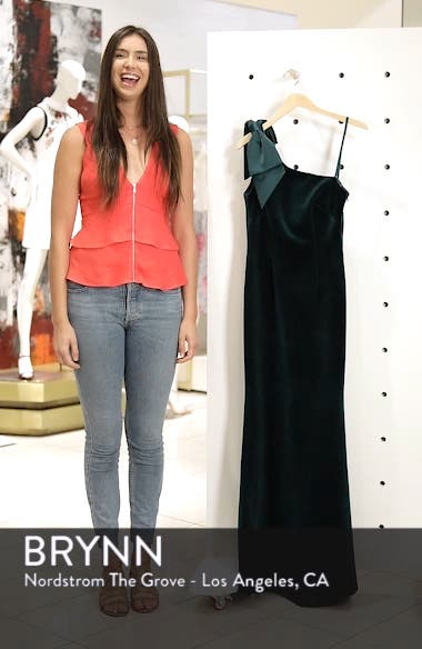 Bow One-Shoulder Velvet Gown, sales video thumbnail