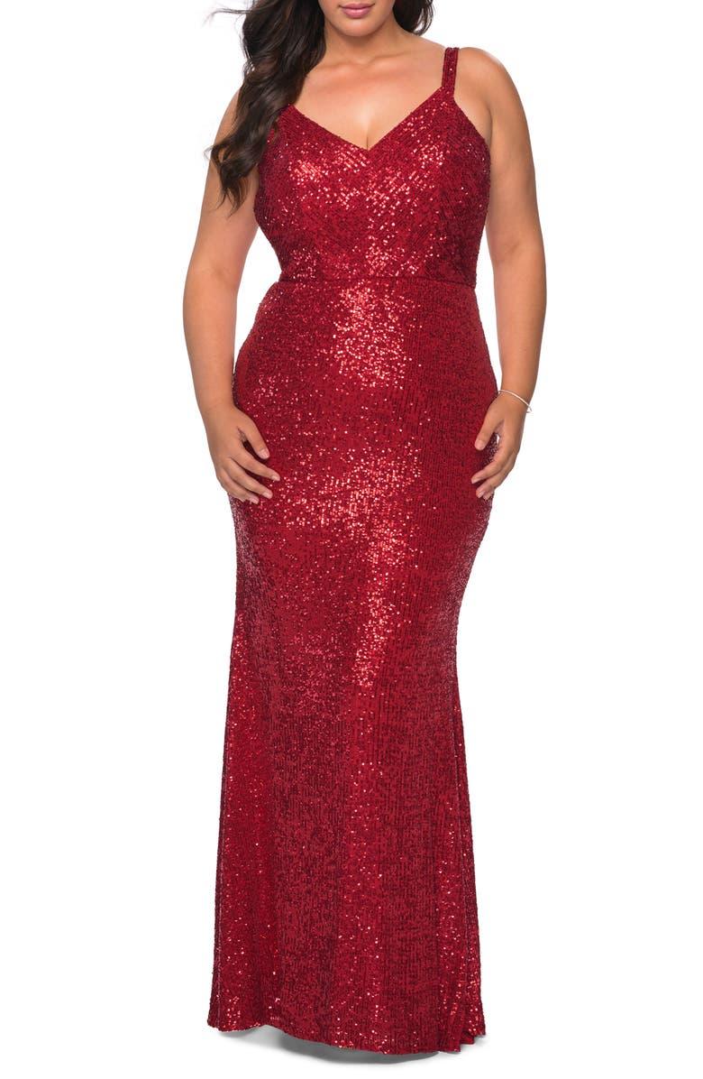 LA FEMME Sequin Crisscross Back Trumpet Gown, Main, color, RED