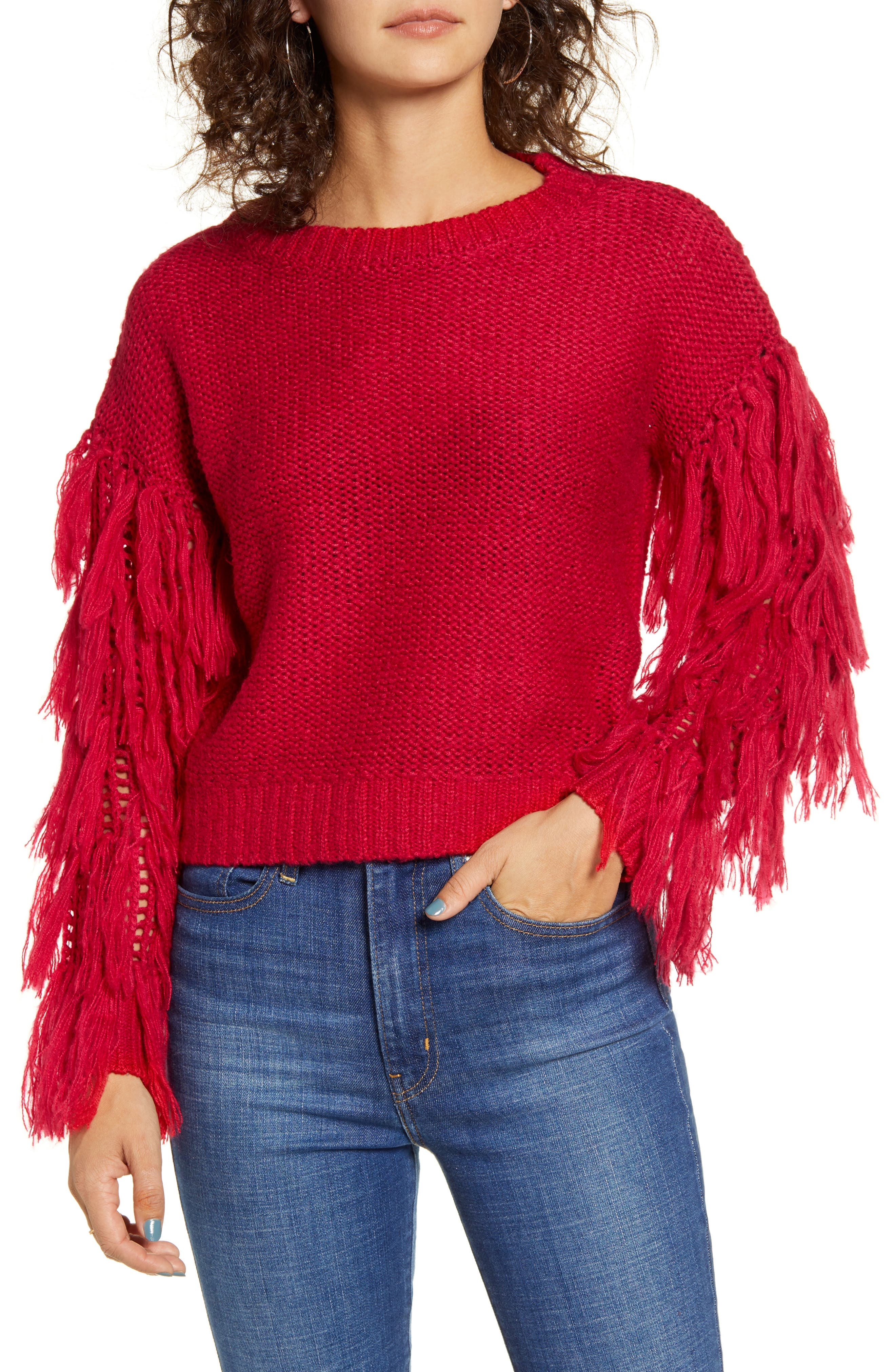 Fringe Sleeve Sweater by Love By Design