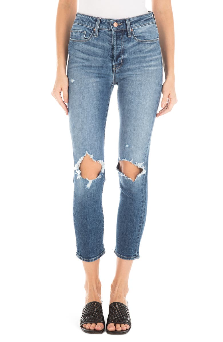 FIDELITY DENIM Pixie Ripped High Waist Crop Skinny Jeans, Main, color, MAMMOTH BLUE