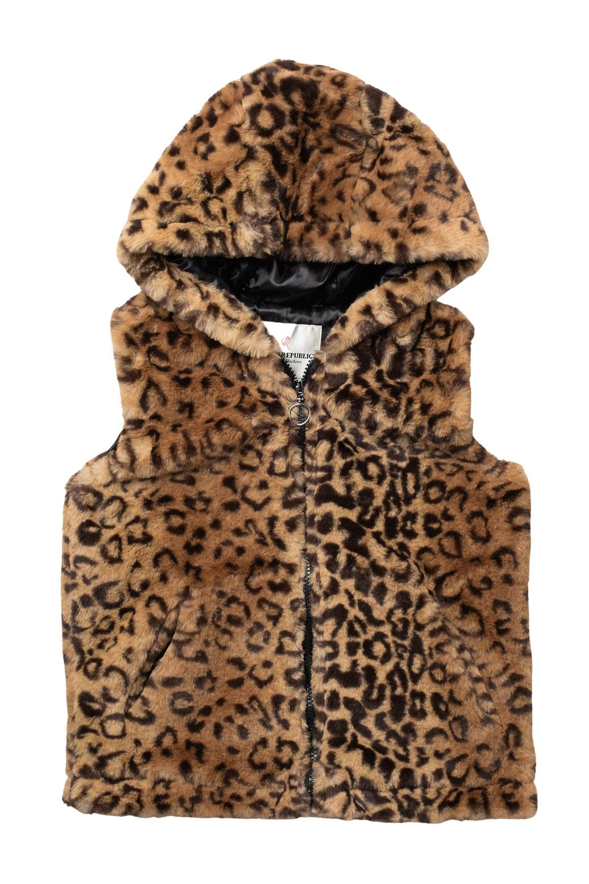 Image of Urban Republic Leopard Faux Fur Hooded Vest