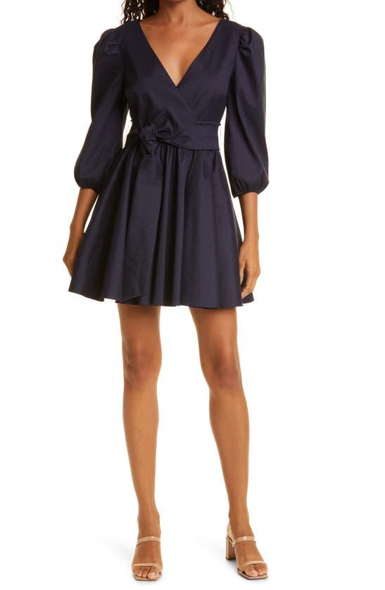 Likely Hana Tie Waist Puff Sleeve Dress In Navy